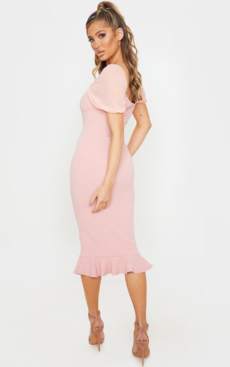 Dusty Pink Mesh Puff Sleeve Frill Hem Midi Dress 2