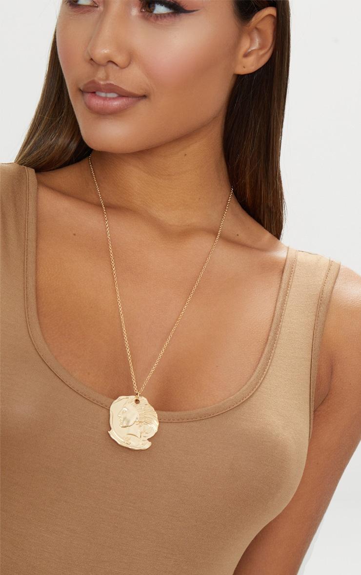 Gold Renaissance Ancient Disc Pendant Necklace 1
