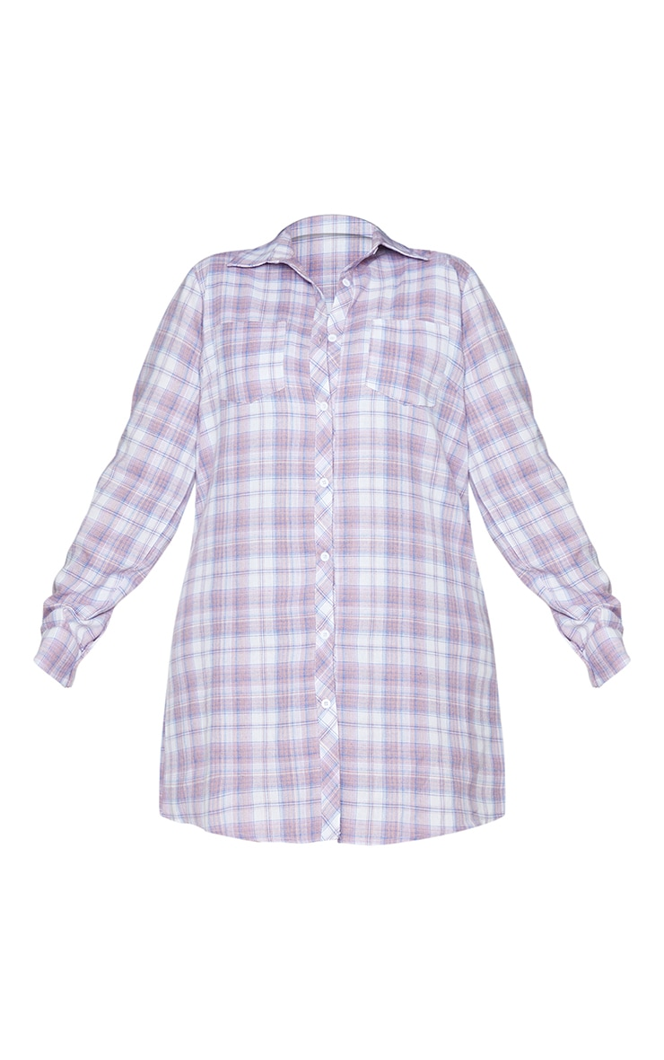 Plus Lilac Checked Oversized Shirt Dress 5