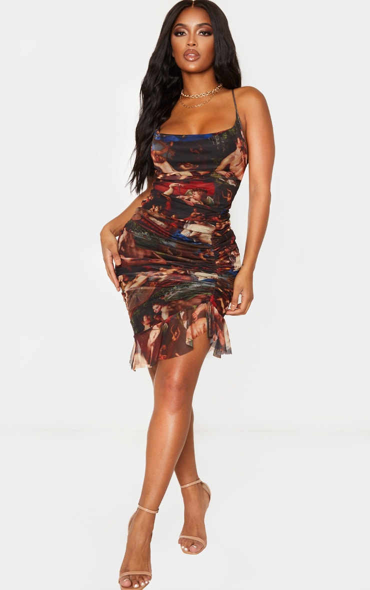 Shape Multi Renaissance Print Mesh Cowl Ruched Midi Dress 4
