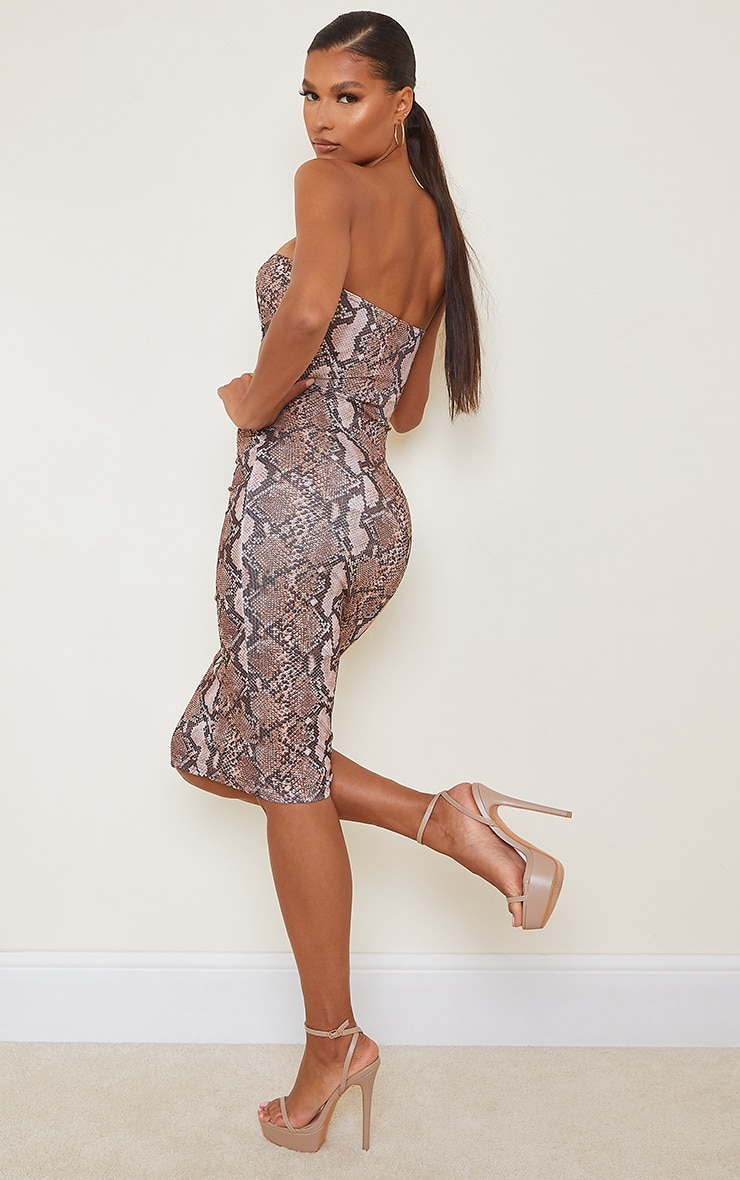 Brown Snake Print Ribbed Bandeau Cut Out Detail Midi Dress 2