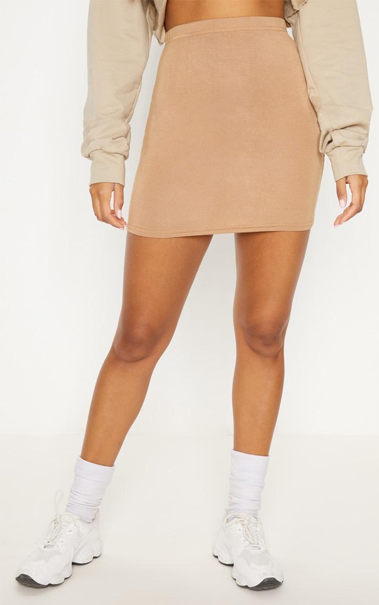 Basic minijupe en jersey camel 2
