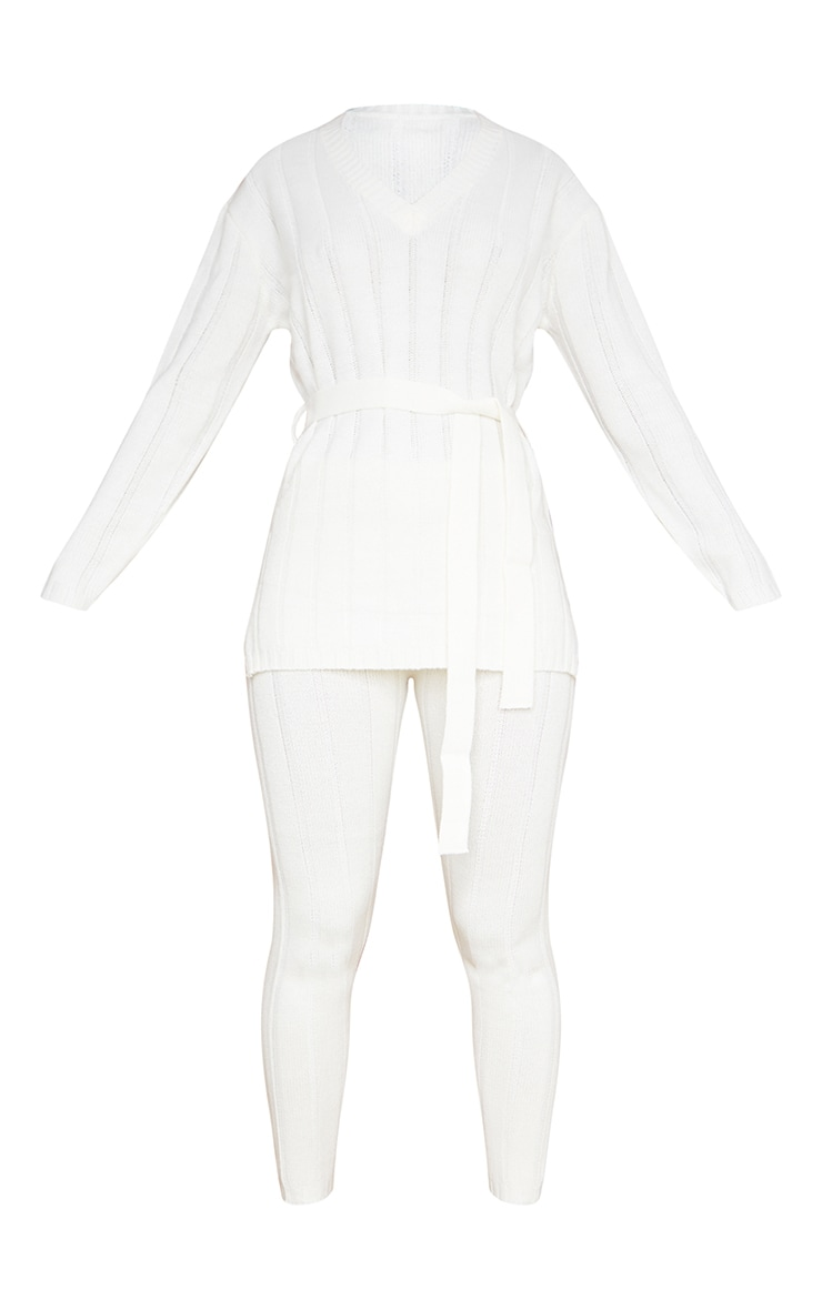 Cream Belted Longline Sweater And Legging Lounge Set 5
