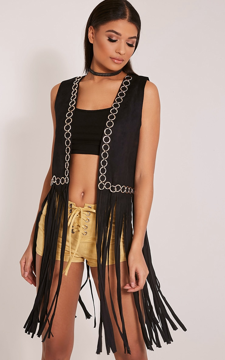 Bili Black Faux Suede Ring Detail Fringed Waistcoat 4