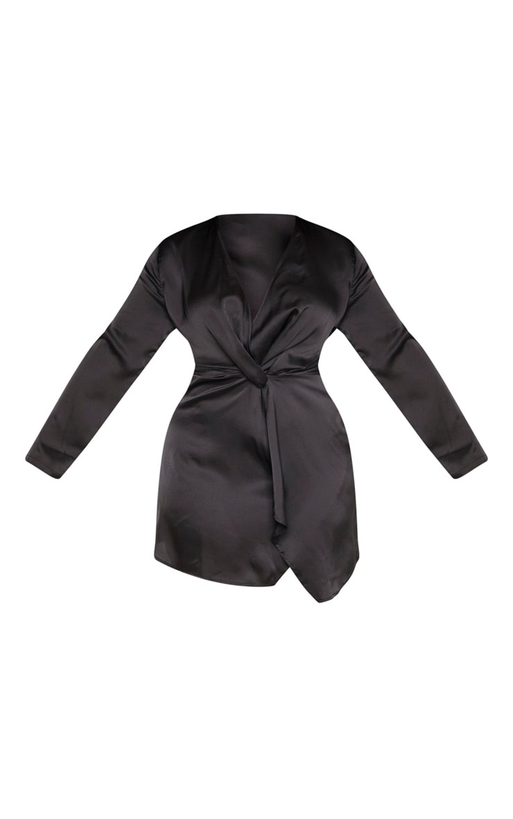 Plus Black Satin Long Sleeve Wrap Dress  3