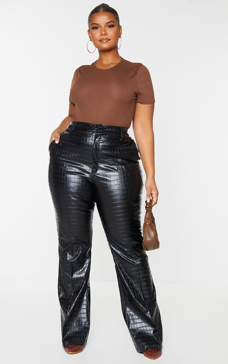 Plus Black Faux Leather Croc Embossed Flare Trousers 1