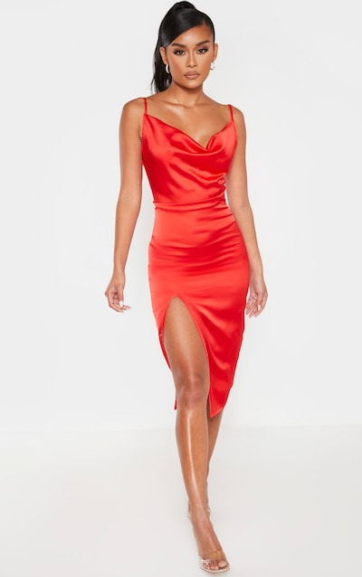 Red Strappy Satin Cowl Midi Dress