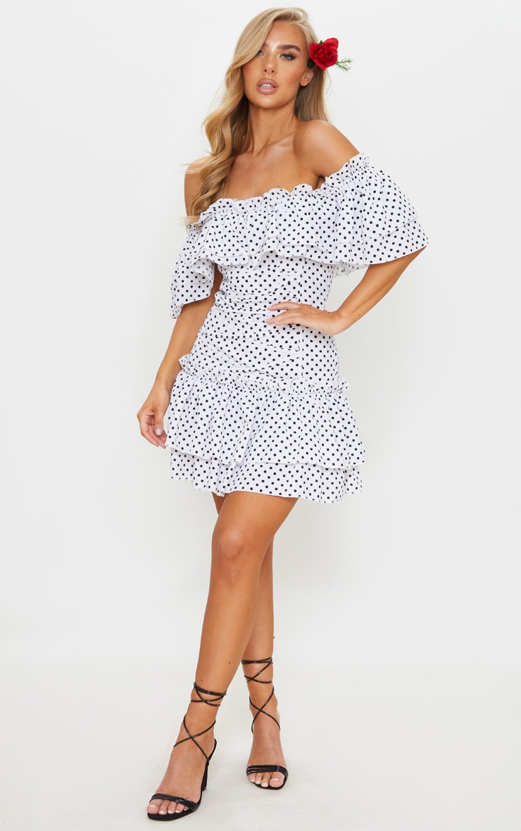 White Polka Dot Frill Lace Up Bardot Bodycon Dress 3
