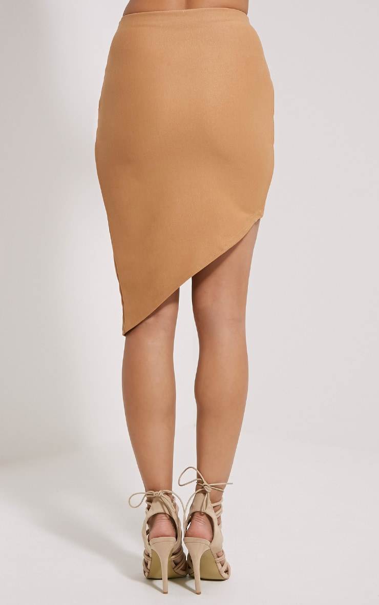 Libby Camel Asymmetric Mini Skirt 4