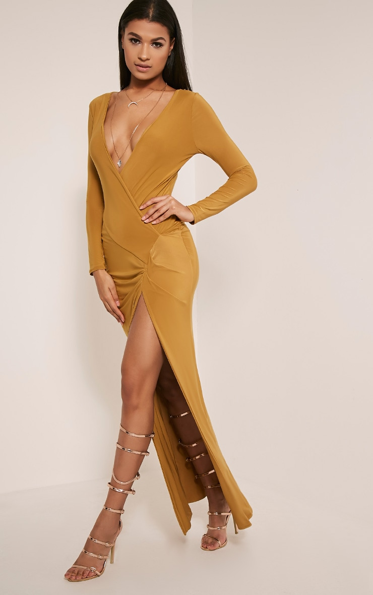 Aubreanna Dark Gold Wrap Front Ruched Maxi Dress 7