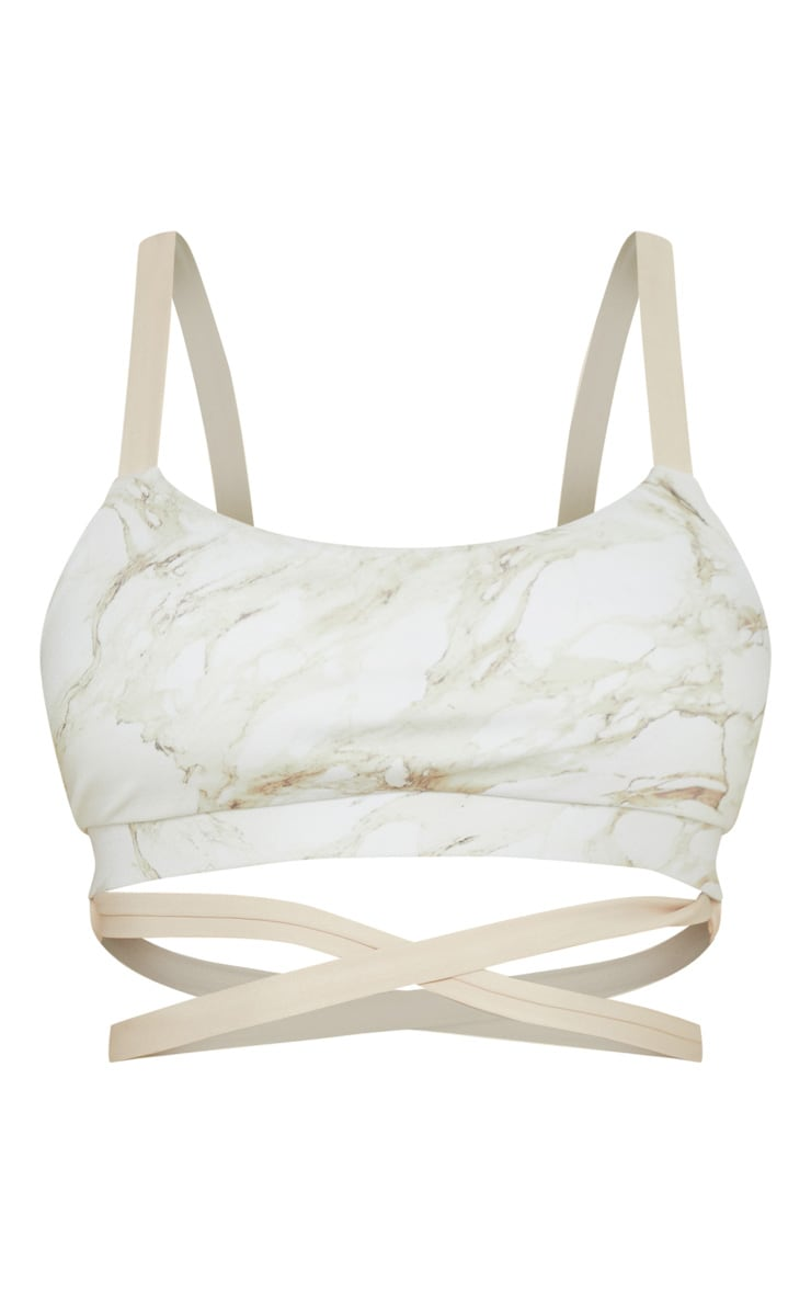 Stone Marble Contrast Strap Gym Bralet 3