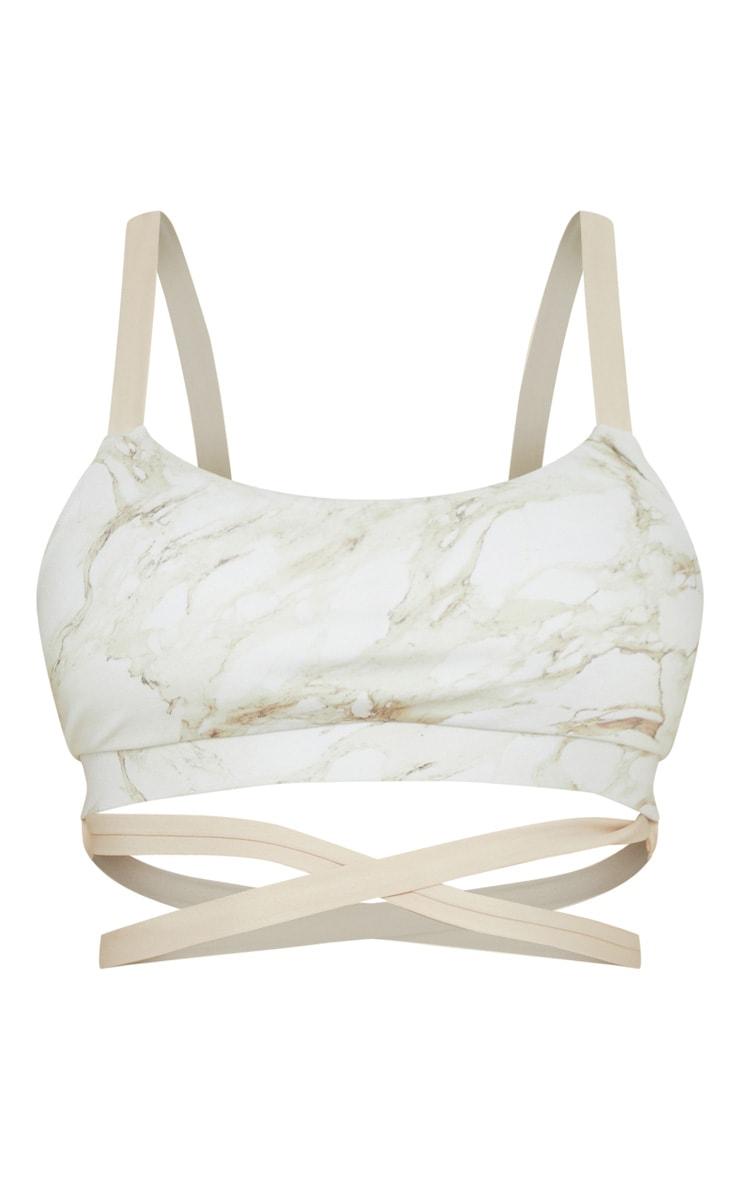 Bralette de sport gris pierre style marbre à bandes contrastées 3
