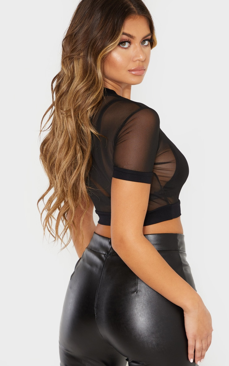 Black Mesh Crew Neck Short Sleeve Crop Top 2
