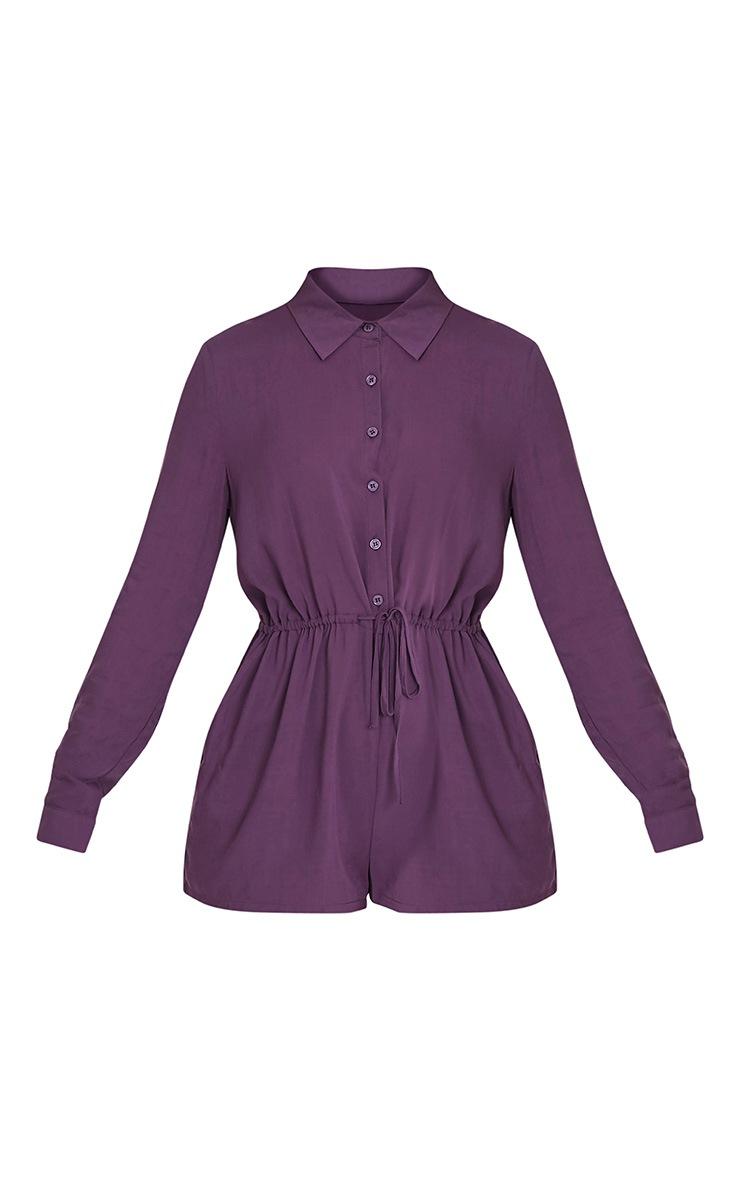 Jenna Aubergine Tie Waist Shirt Playsuit 3