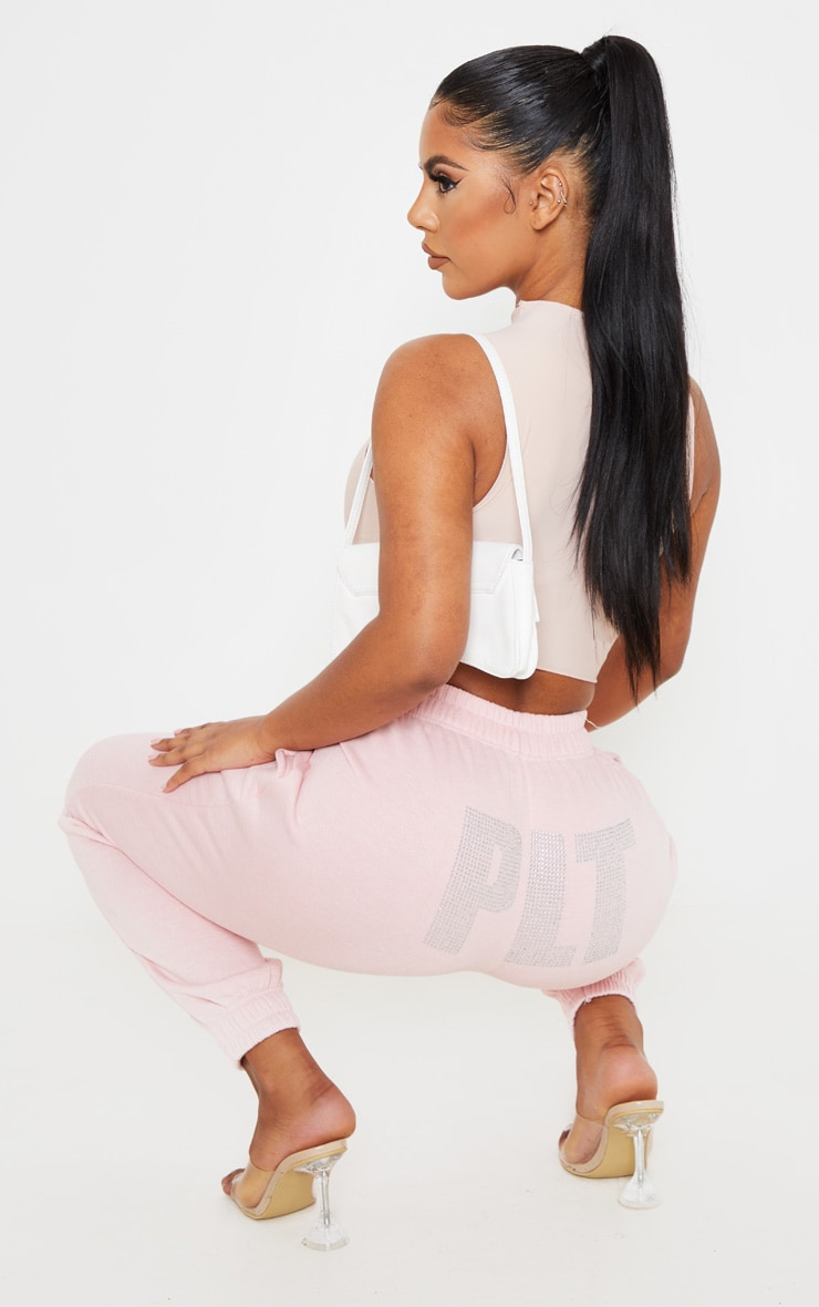 PRETTYLITTLETHING Baby Pink Diamante Slogan Jogger 1