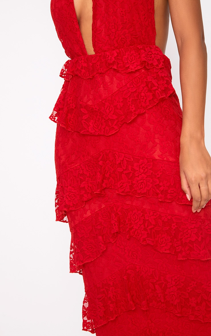 Red Lace Frill Detail Maxi Dress 5