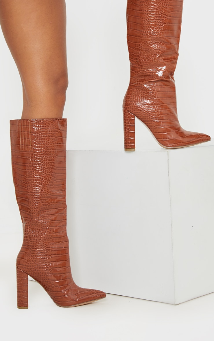 Tan Knee High Point Block Heel Boot 2
