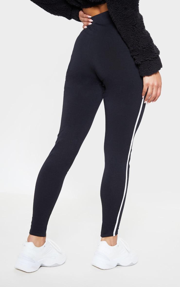 Black Contrast Binding Tie Waist Detail Legging 4