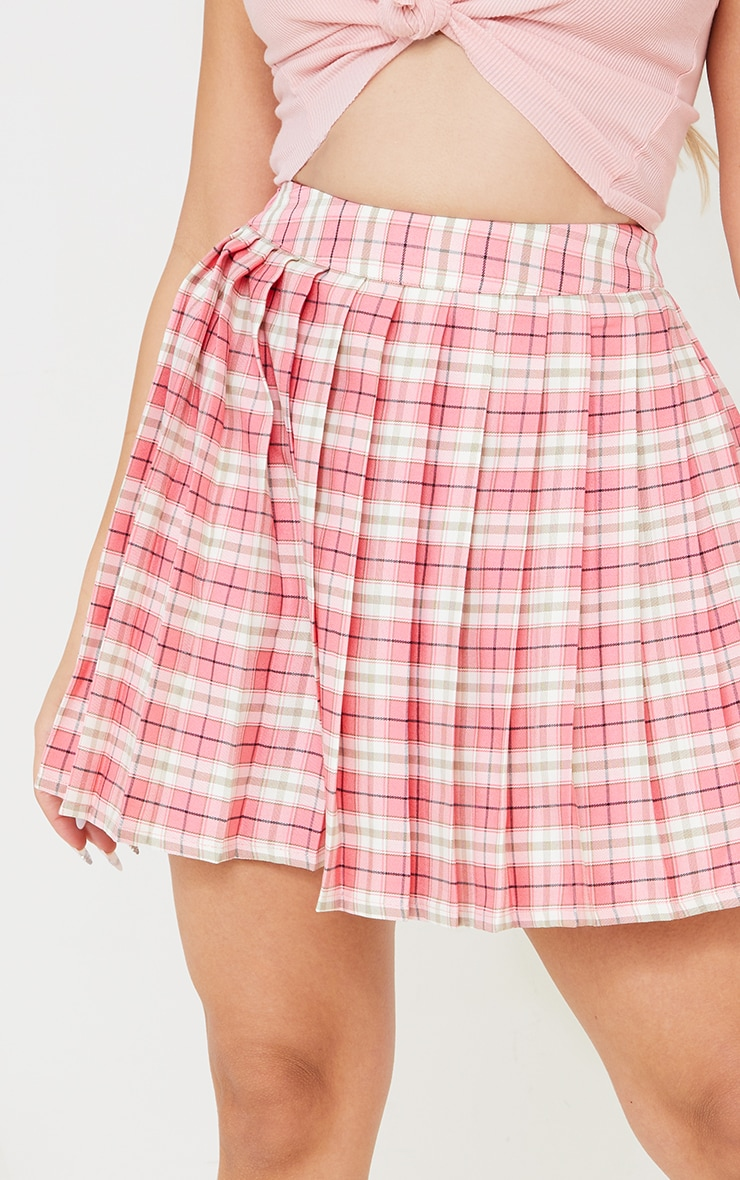 Petite Pink Woven Check Tennis Skirt 5