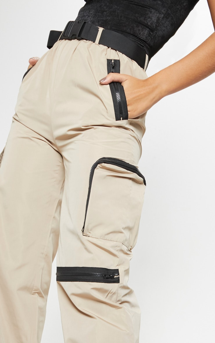 Stone Shell Belted Pocket Detail Joggers 5