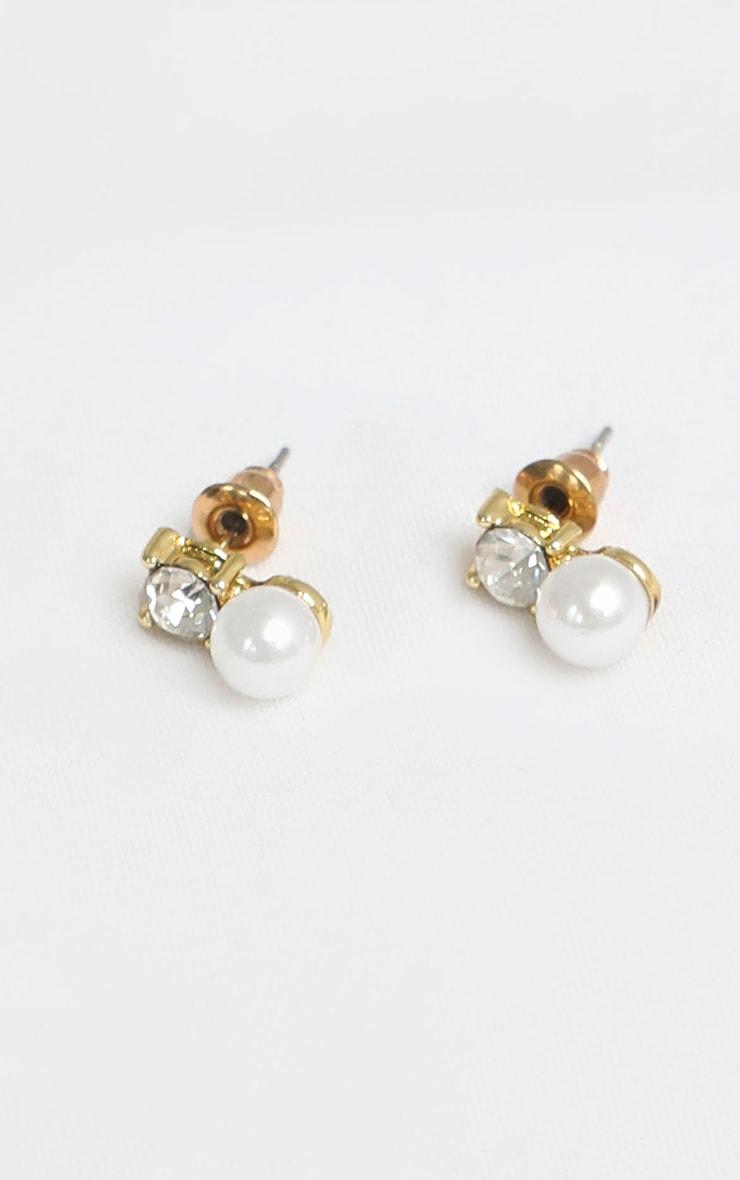 White Pearl Diamante Stud Earrings 3