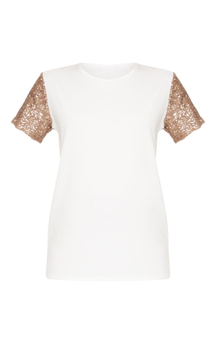 White Sequin Sleeve Oversized T shirt 3