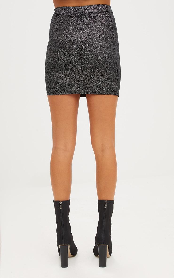 Black Speckle Foil Mini Skirt 4
