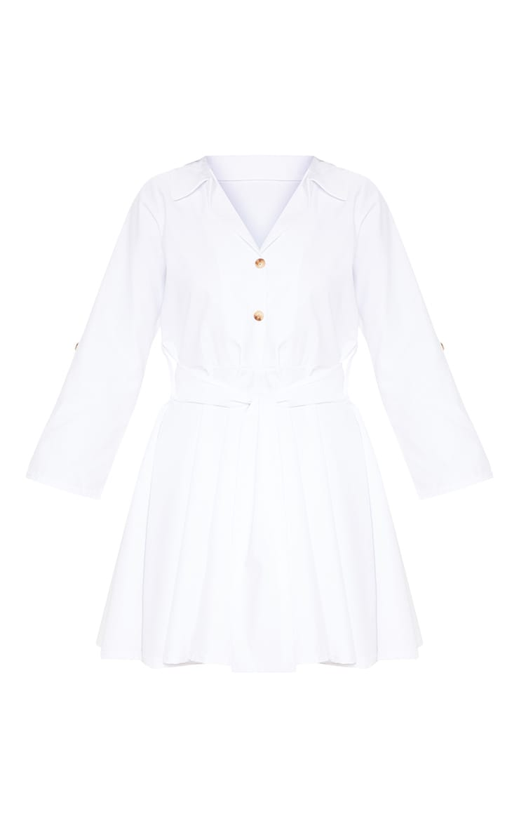 White Tortoise Shell Button Front Shirt Dress 3