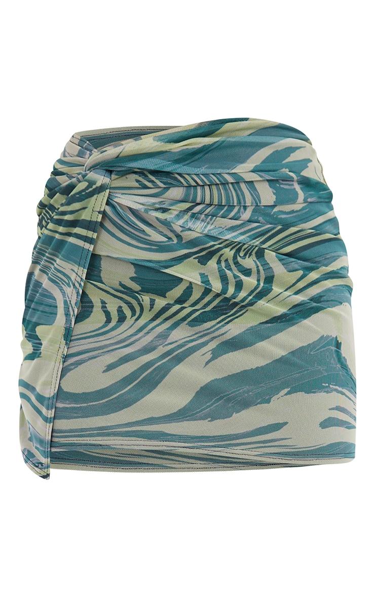 Tall  Green Zebra Print Wrap Mini Skirt 6
