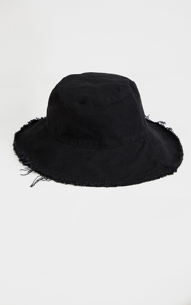 Black Cotton Frayed Edge Bucket Hat 2