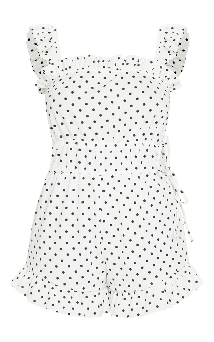 White Polka Dot Frill Detail Tie Waist Playsuit 5