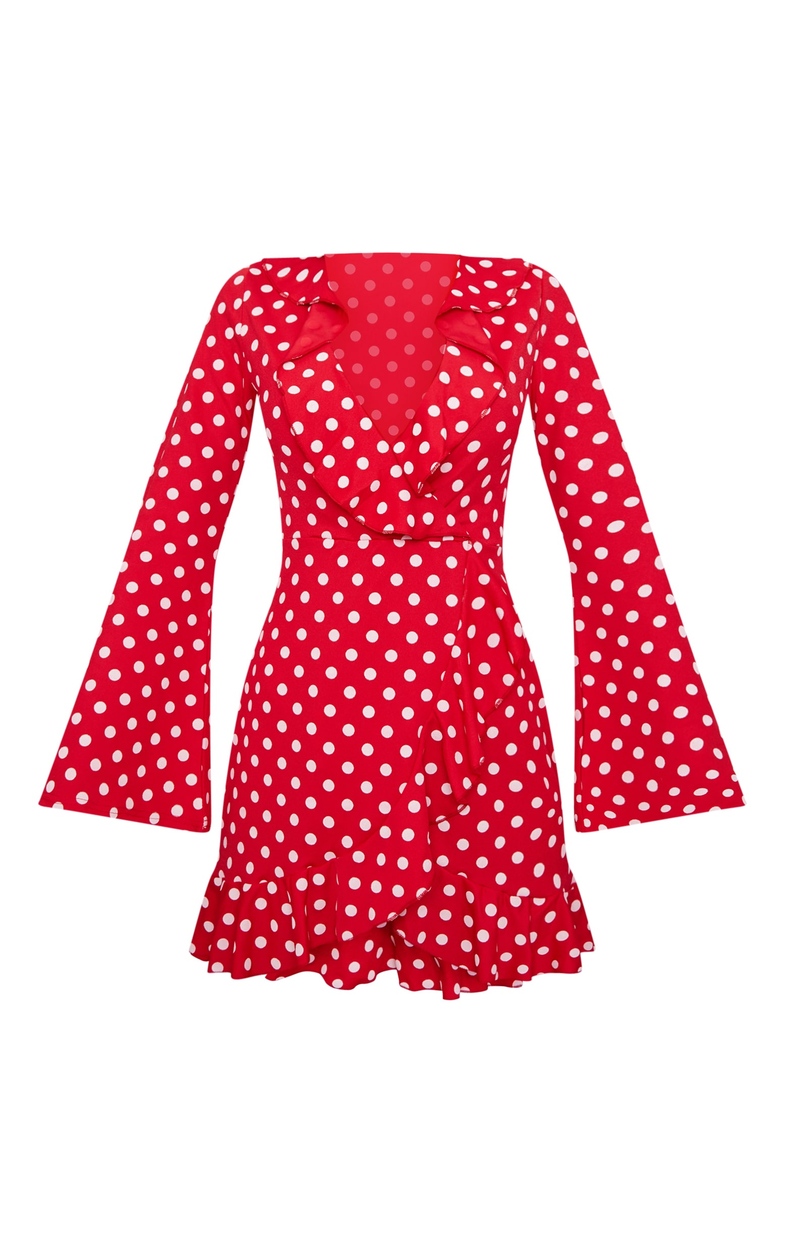 Red Polka Dot Frill Detail Flare Sleeve Wrap Dress 2