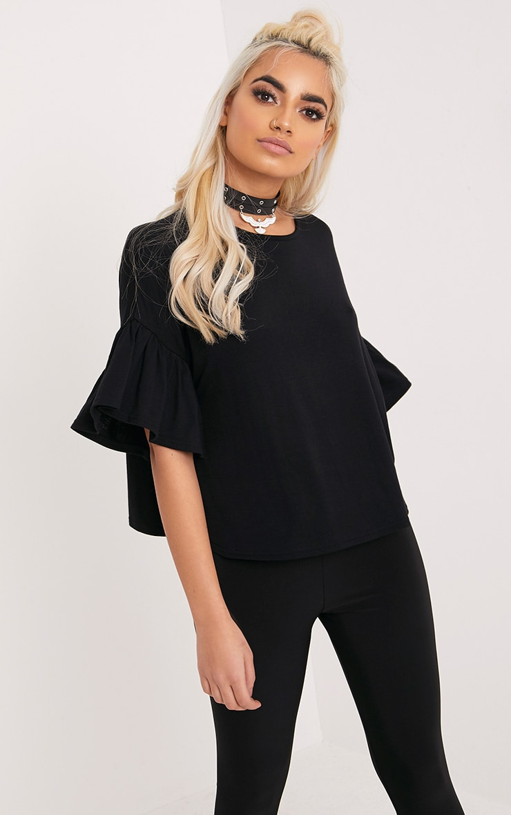 Adnie Black Frill Sleeve T Shirt  1