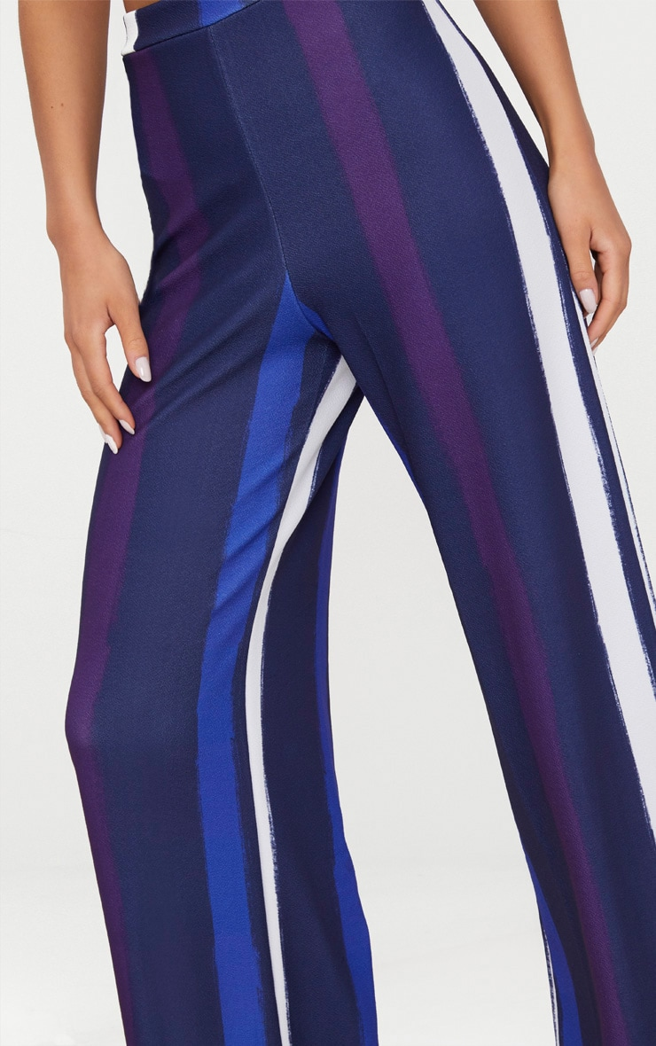 Navy Multi Thick Stripe Wide Leg Trousers  5