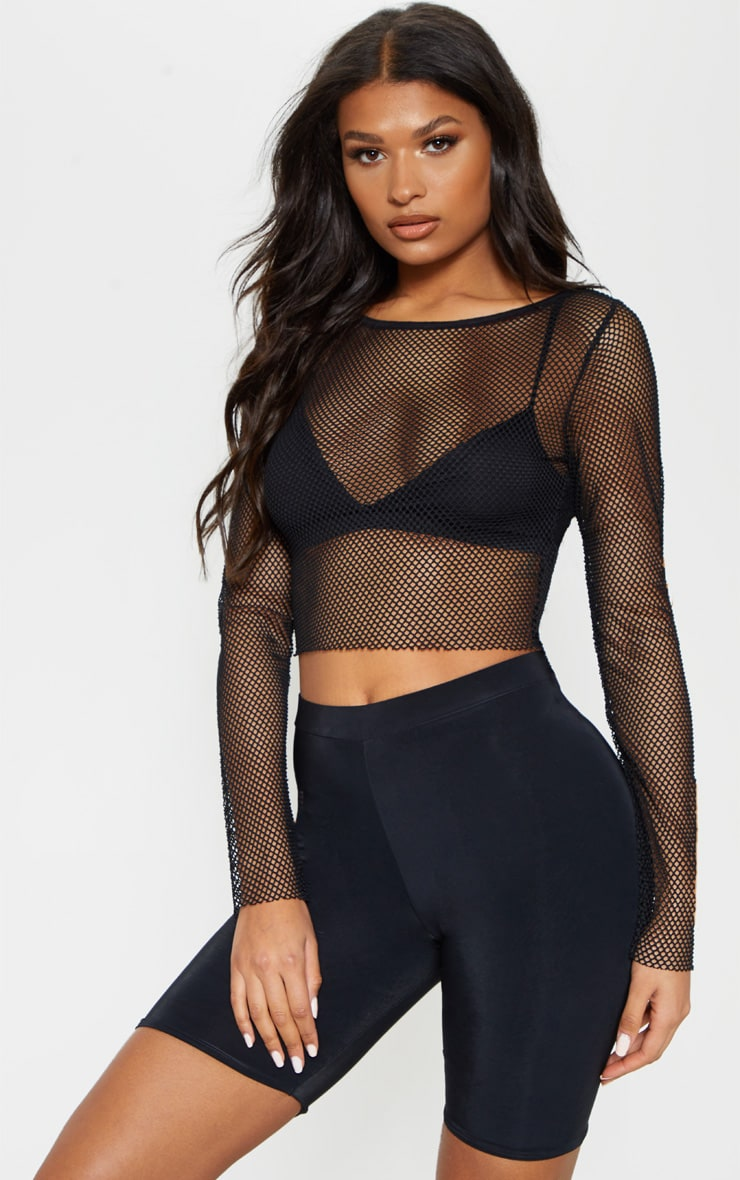 Black Fishnet Crew Neck Long Sleeve Top 5