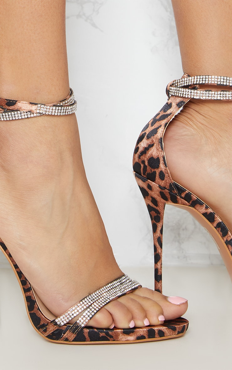 Leopard Print Diamante Jewel Strappy Sandal 5