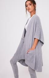 Yazmine Grey Chunky Knit 3/4 sleeve Wrap Cardigan 3
