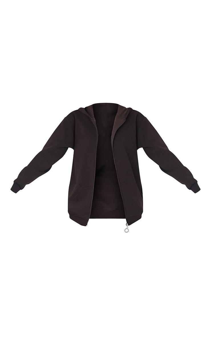 Tall - Hoodie très oversize marron chocolat à poches et zip 5