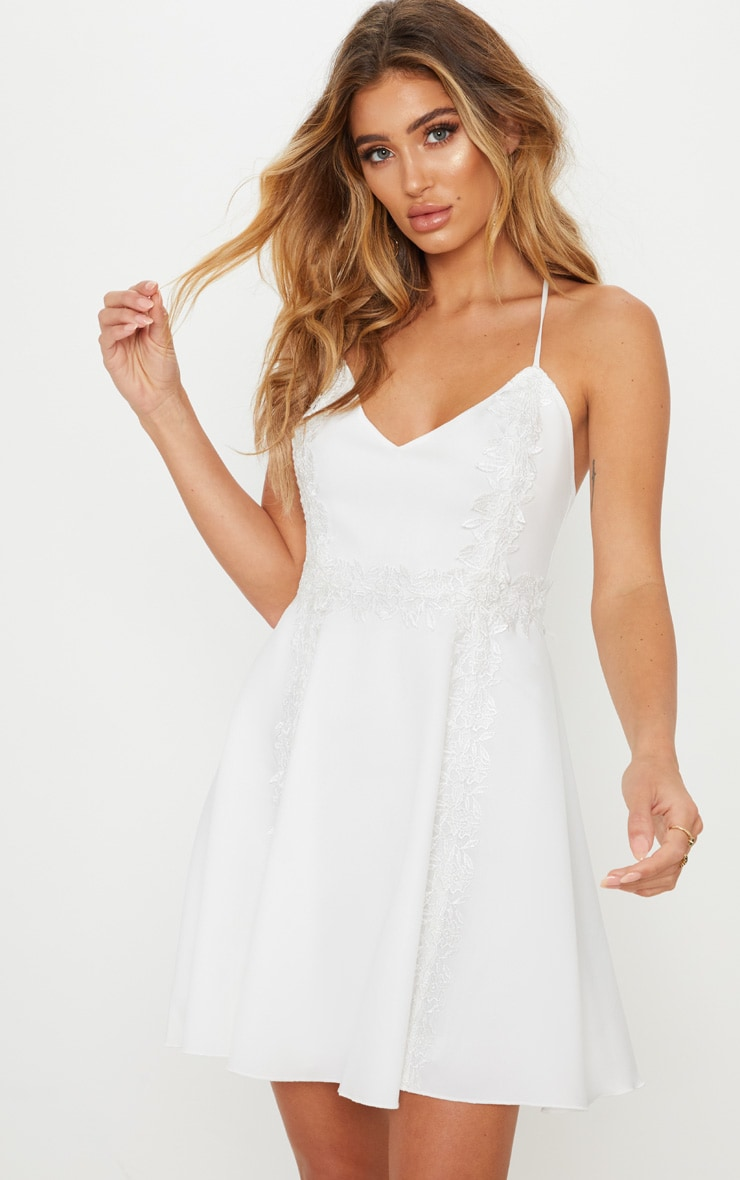 White Lace Trim Plunge Skater Dress 1