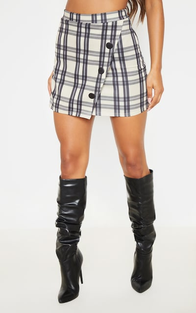 Stone Checked Button Skirt