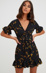 Black Floral Corset Swing Dress  1