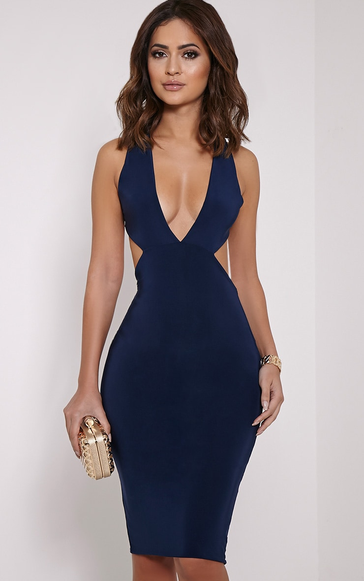 Biddy Navy Deep V Plunge Cross Back Midi 3