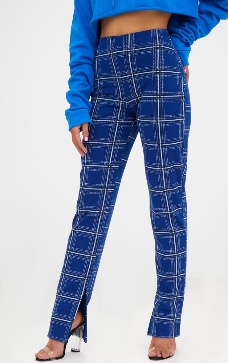 Petite Blue Checked Split Hem Trousers 2