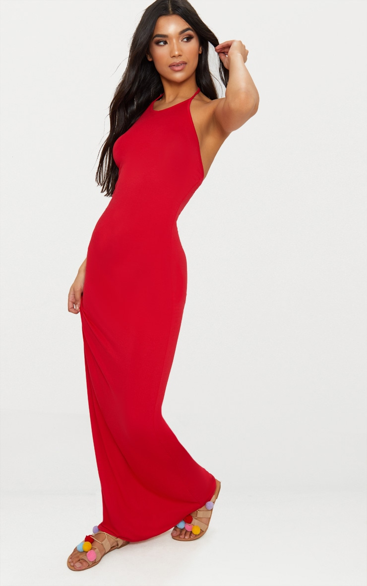 Red Basic Halterneck Maxi Dress 4