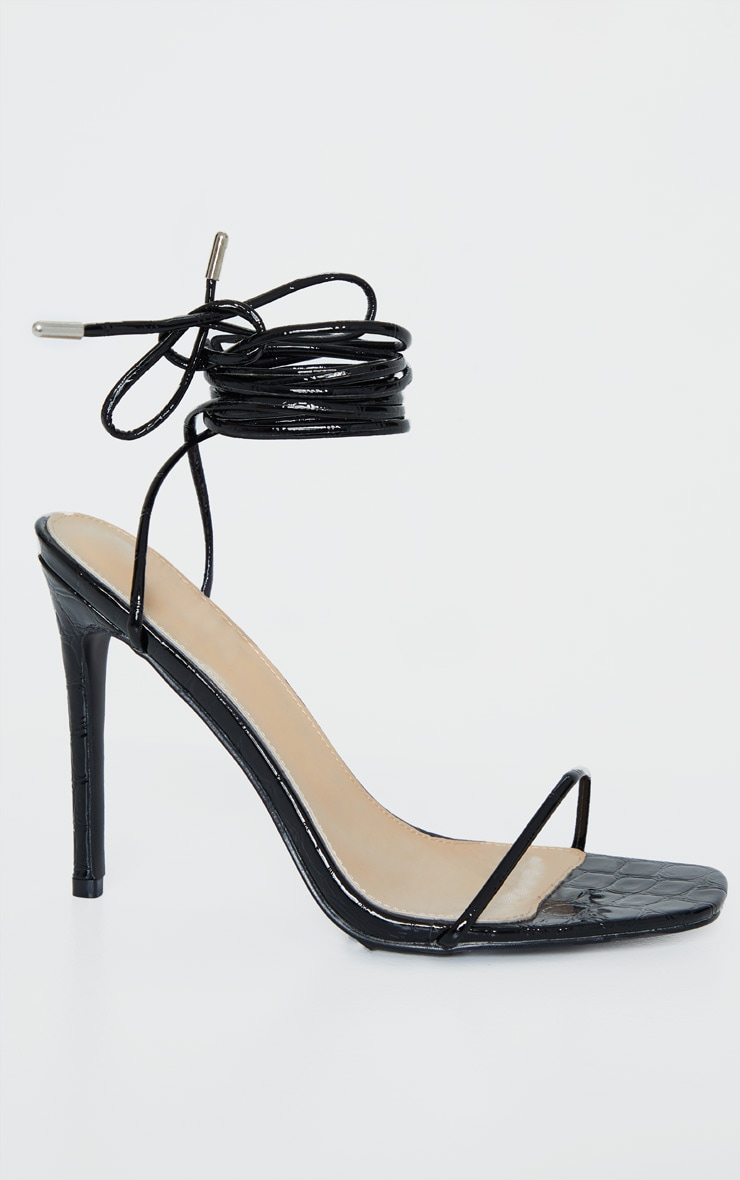 Black Croc Thin Strap Ankle Tie Strappy Sandal 3