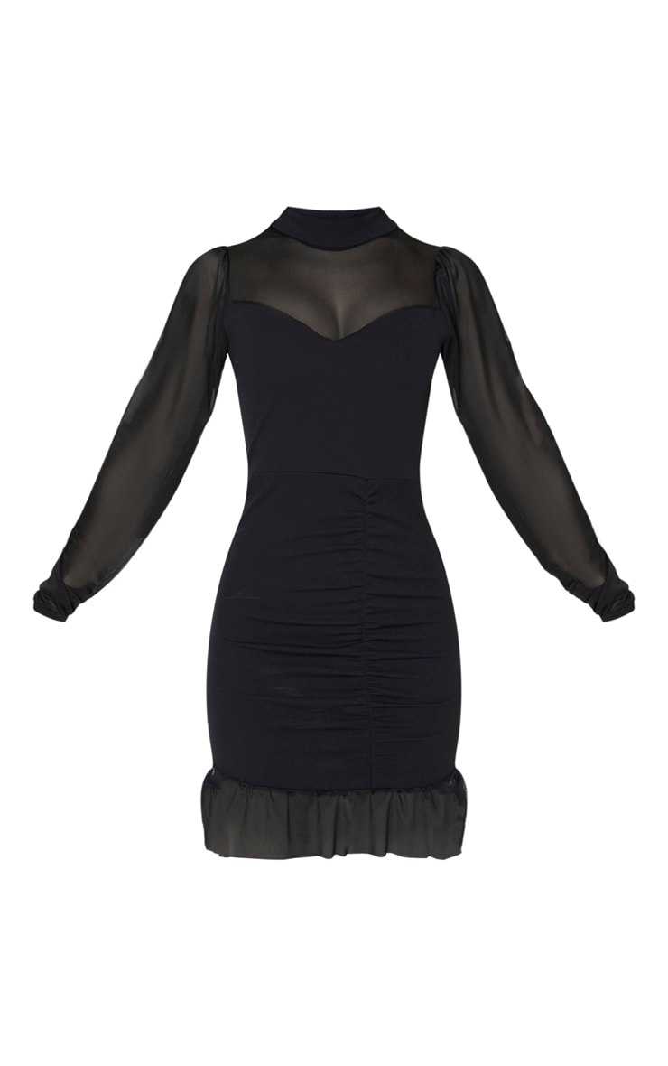 Black High Neck Ruched Mesh Contrast Bodycon Dress 3