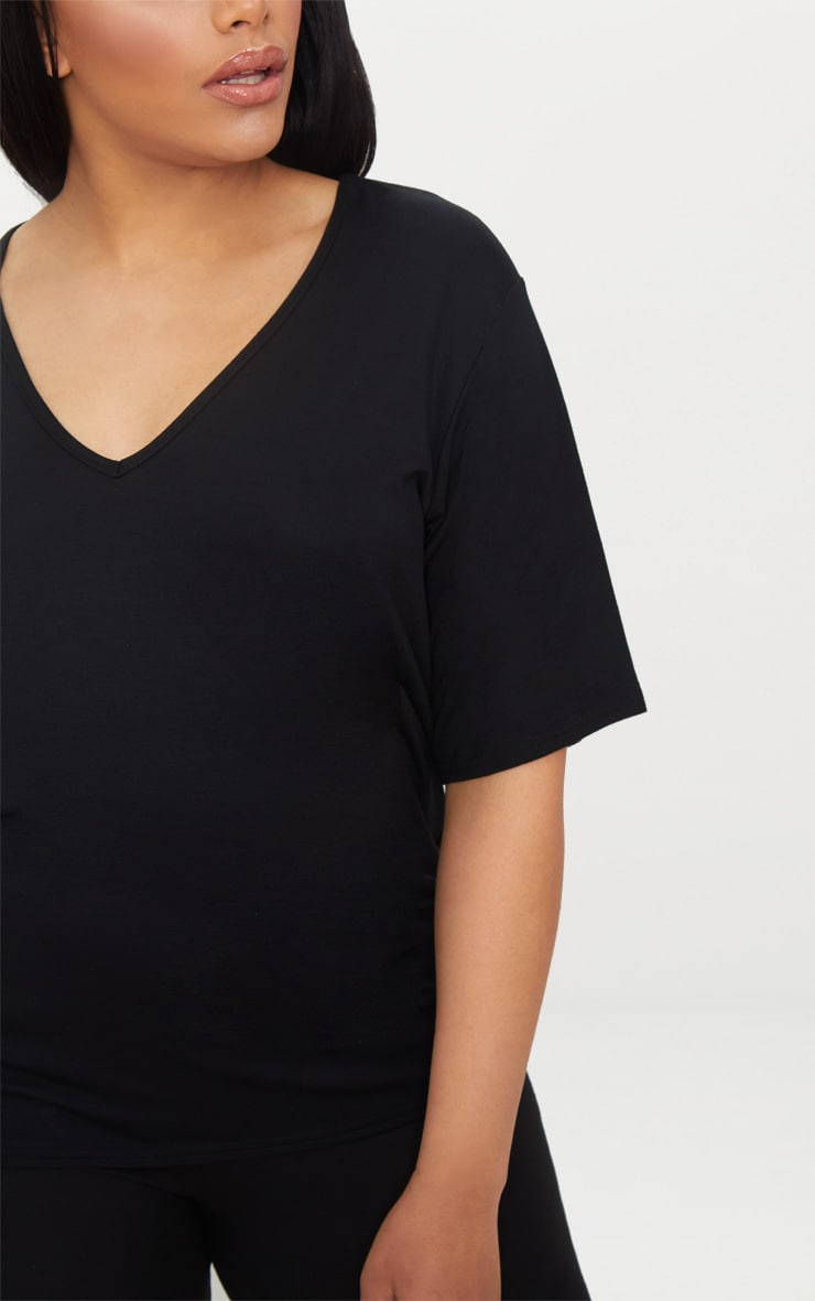 Plus Black Basic V Neck T Shirt 4