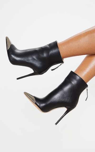 Black Metal Toe Heeled Ankle Boot