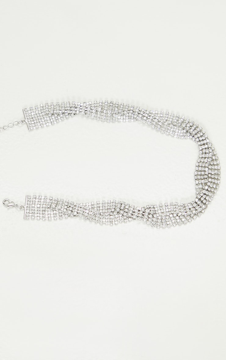 Silver Oversized Diamante Twist Necklace 3