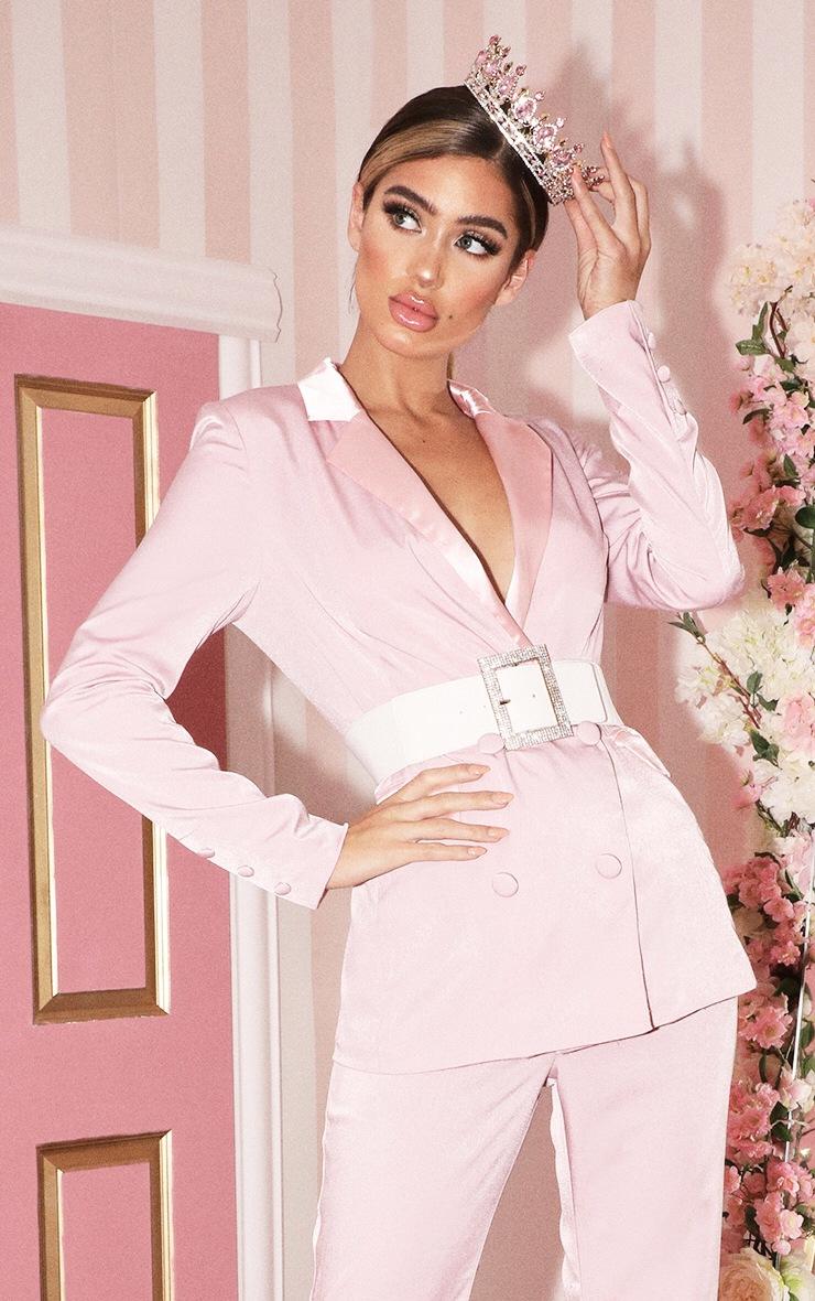 Light Pink Longline Satin Mix Blazer 1